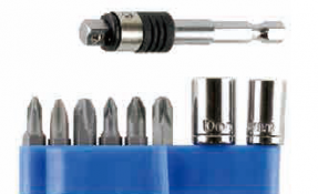 """9 PC 1/4"""" DRIVE, 2-IN-1 SB-ADAPTER WITH SOCKETS & BITS SET"""