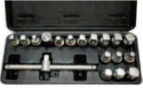"DRAIN PLUG KEY SET,3/8""DR.,18PC"