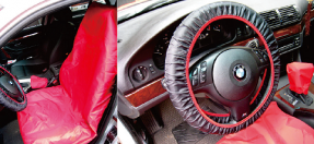 3PCS CAR TRUCK FRONT SEAT COVERS & STEERING WHEEL COVER